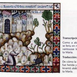 De cómo la alcaidesa no fue herida y de como se levantó alabando a Santa María