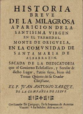 Historia Breve de la milagrosa aparición de la Santísima Virgen en el Tremedal