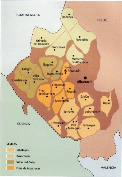 Mapa de la Comunidad de Albarracín